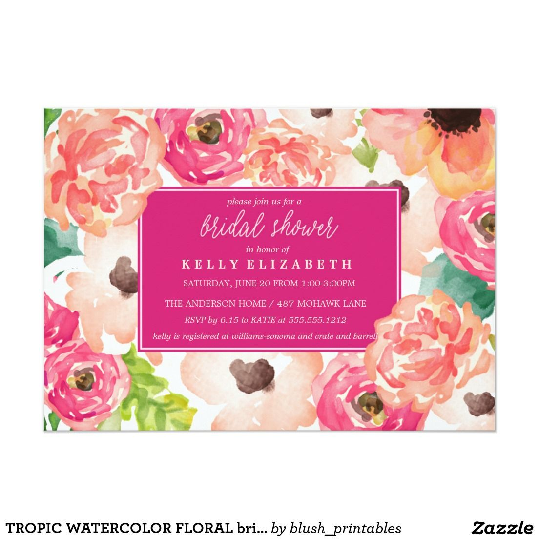 Tropic Watercolor Floral Bridal Shower Invitation Shower