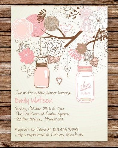 Custom Printable Rustic Vintage Mason Jars Baby Shower Invitation