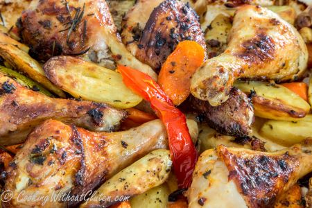 Roasted Chicken Drumsticks with Kipfler Potatoes