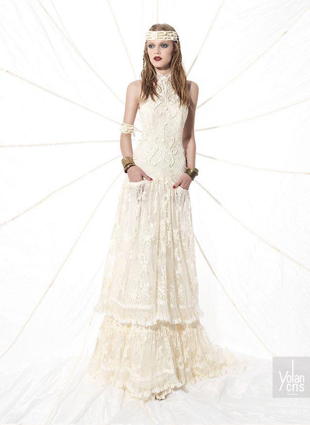 Boho wedding dress made of silk guipur and crochet applications ...