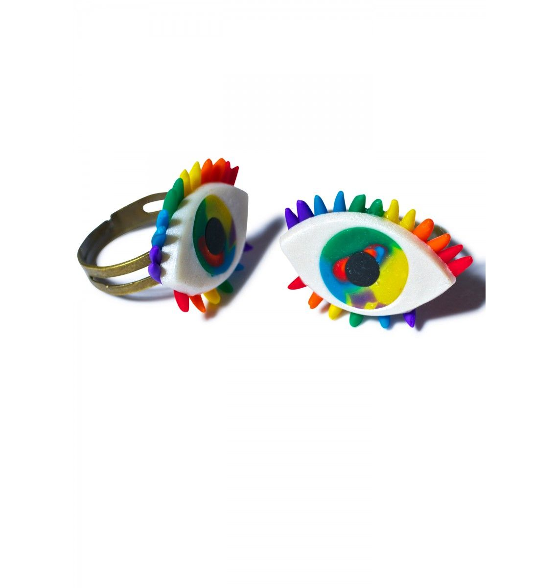 Wicked Hippie Third Eye Rainbow Ring Set