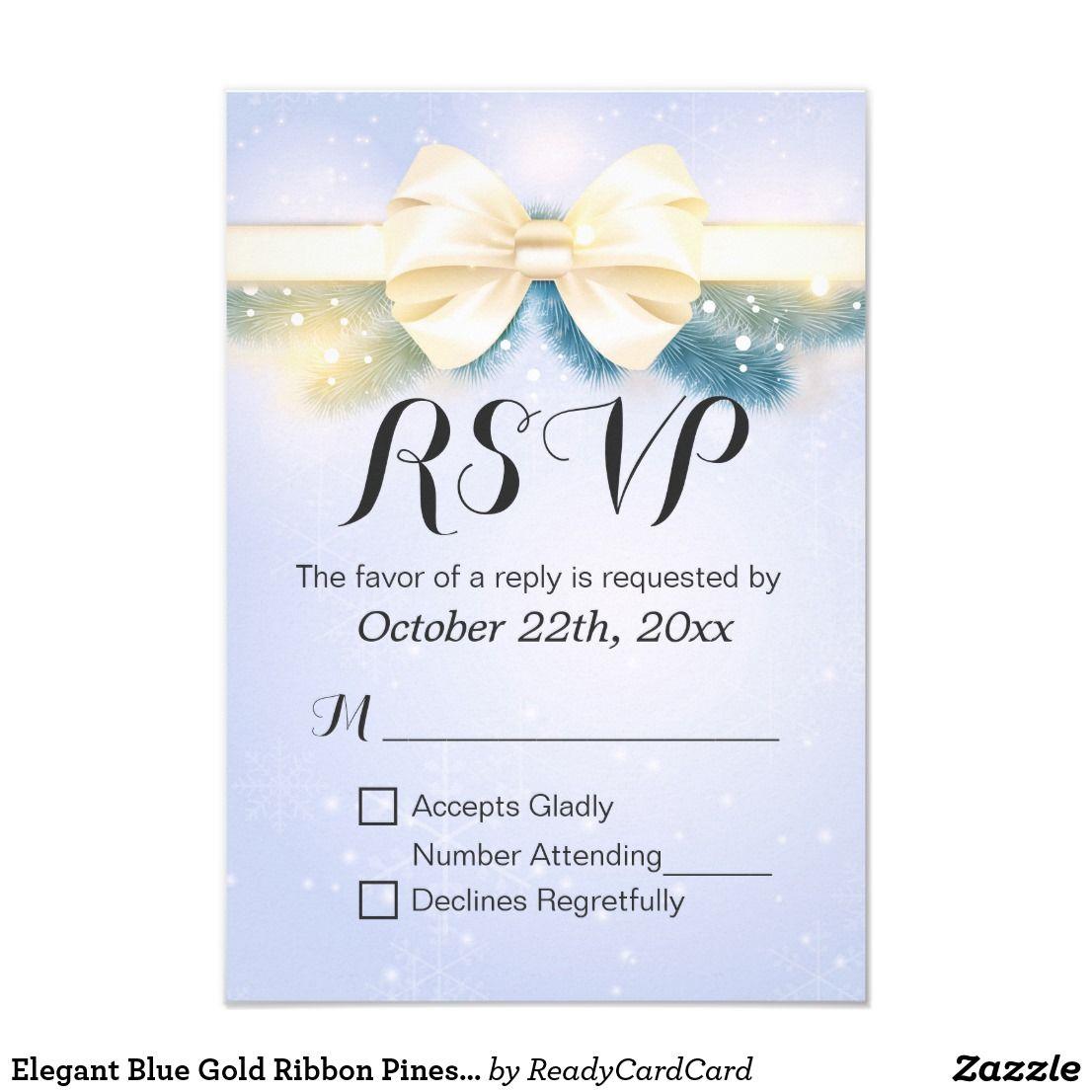Elegant Blue Gold Ribbon Pines Floral Wedding Rsvp Card Elegant