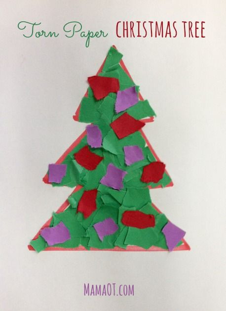 christmas fine motor activity torn paper christmas tree includes ideas for how to modify