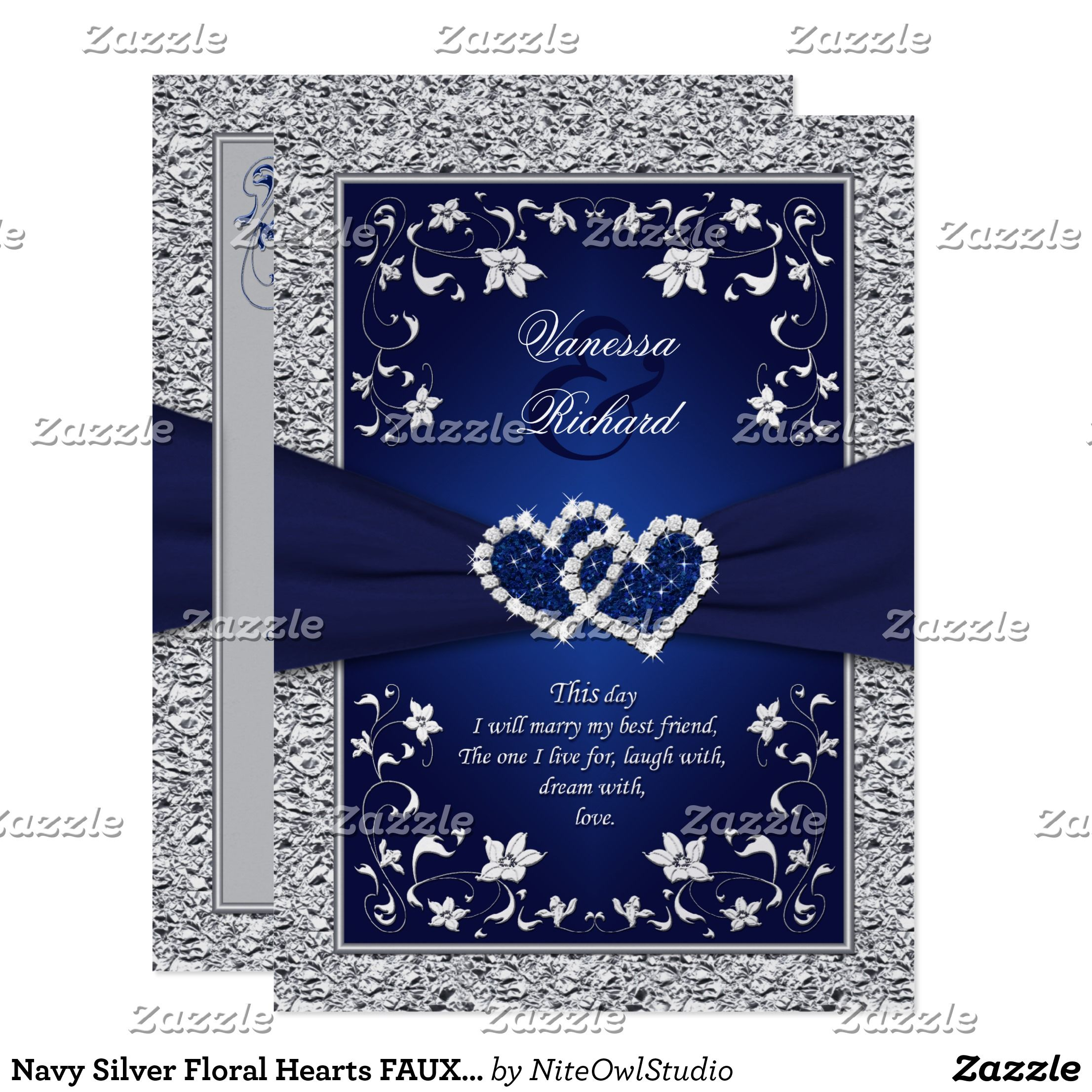 Navy Silver Floral Hearts Faux Foil Wedding Invite Royal Blue