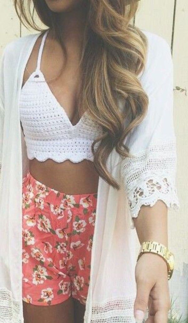 Shorts: floral fashion kimono style trendy croptop beach high waisted pom pom.