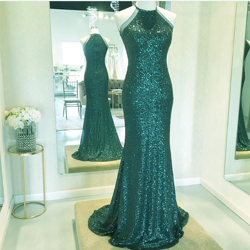 charming sparkle formal sequin green long prom dress