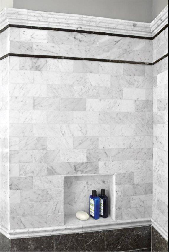Bianco Carrara Honed Subway Dark Olive Shower Tile Akdo