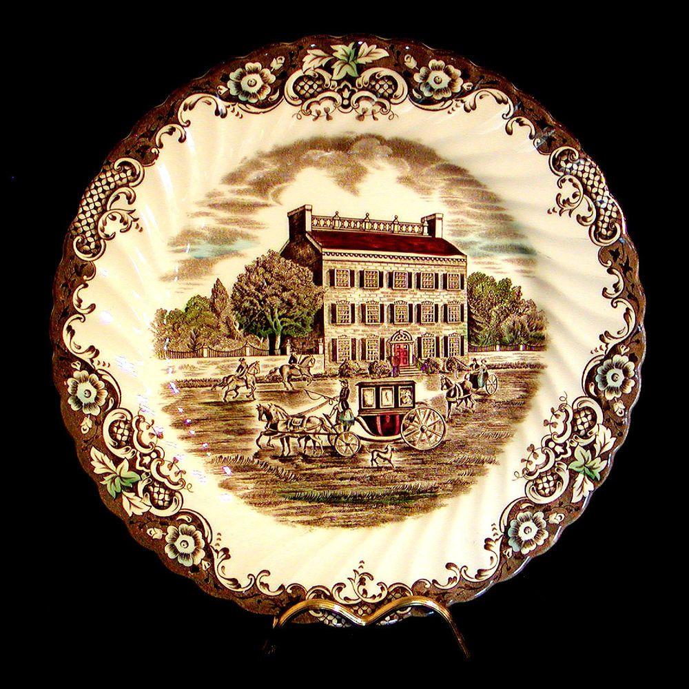 Set/4 JOHNSON BROTHERS Heritage Hall DINNER PLATES Ironstone England ...
