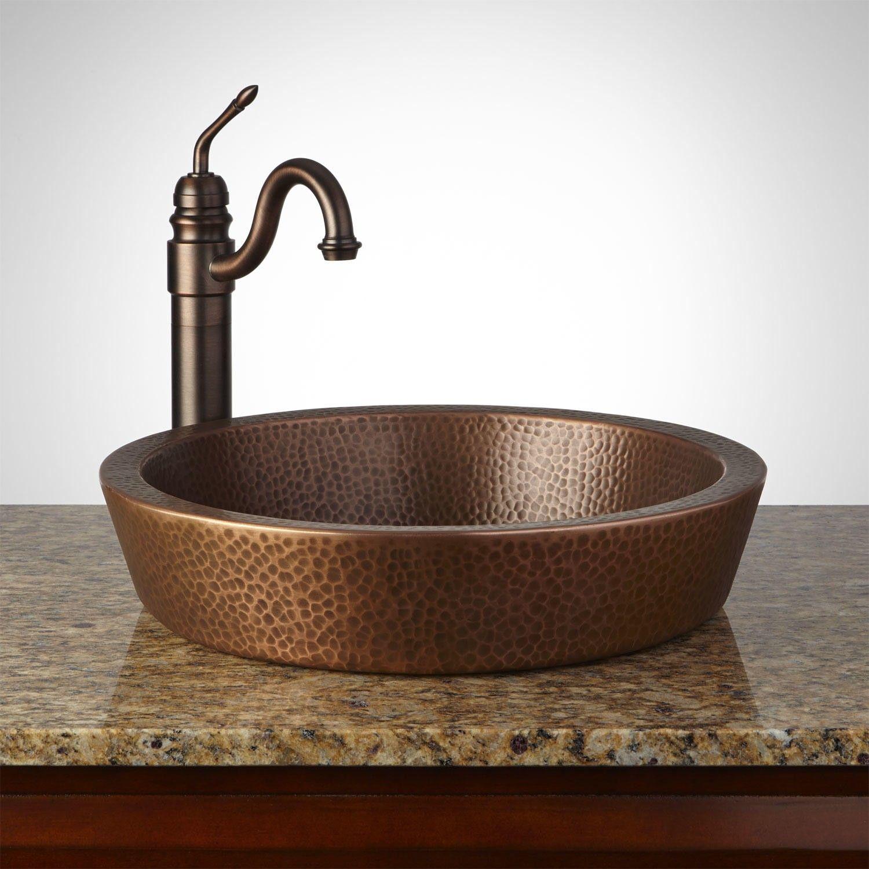 Semi Recessed Copper Sink Hammered Antique Copper Patina Copper Sink Copper Sink Bathroom Copper Vessel Sinks