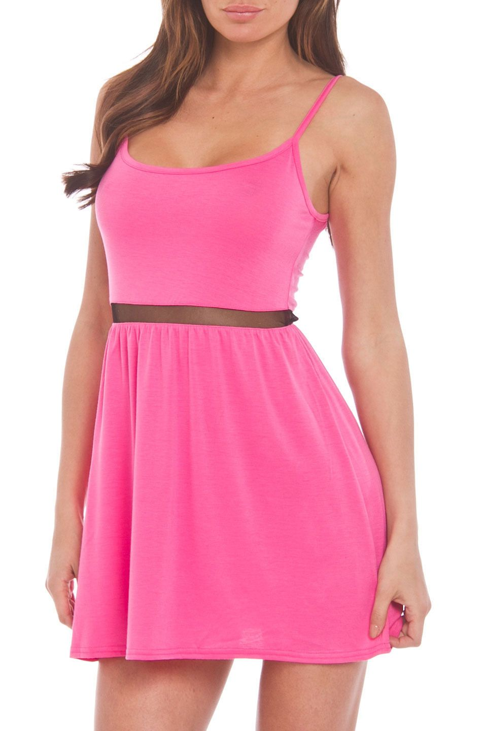 ApparelCandy Sheer Panel Illusion Cut Out Dress in Pink - Beyond the Rack