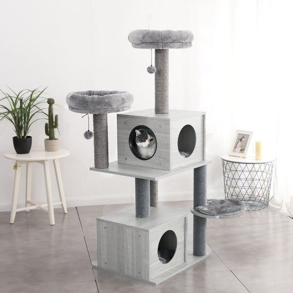 Cat Tree Multi Level Tower For Large Cats Wood Pet Etsy Cat Tree Condo Cat Tree Luxury Pet