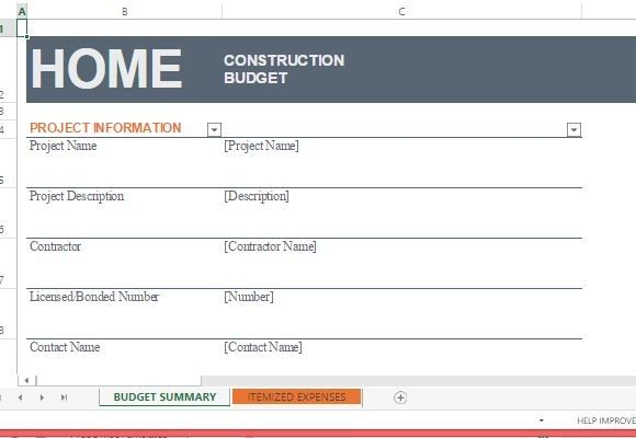 Home Construction Budget Template for Excel #Excel #templates