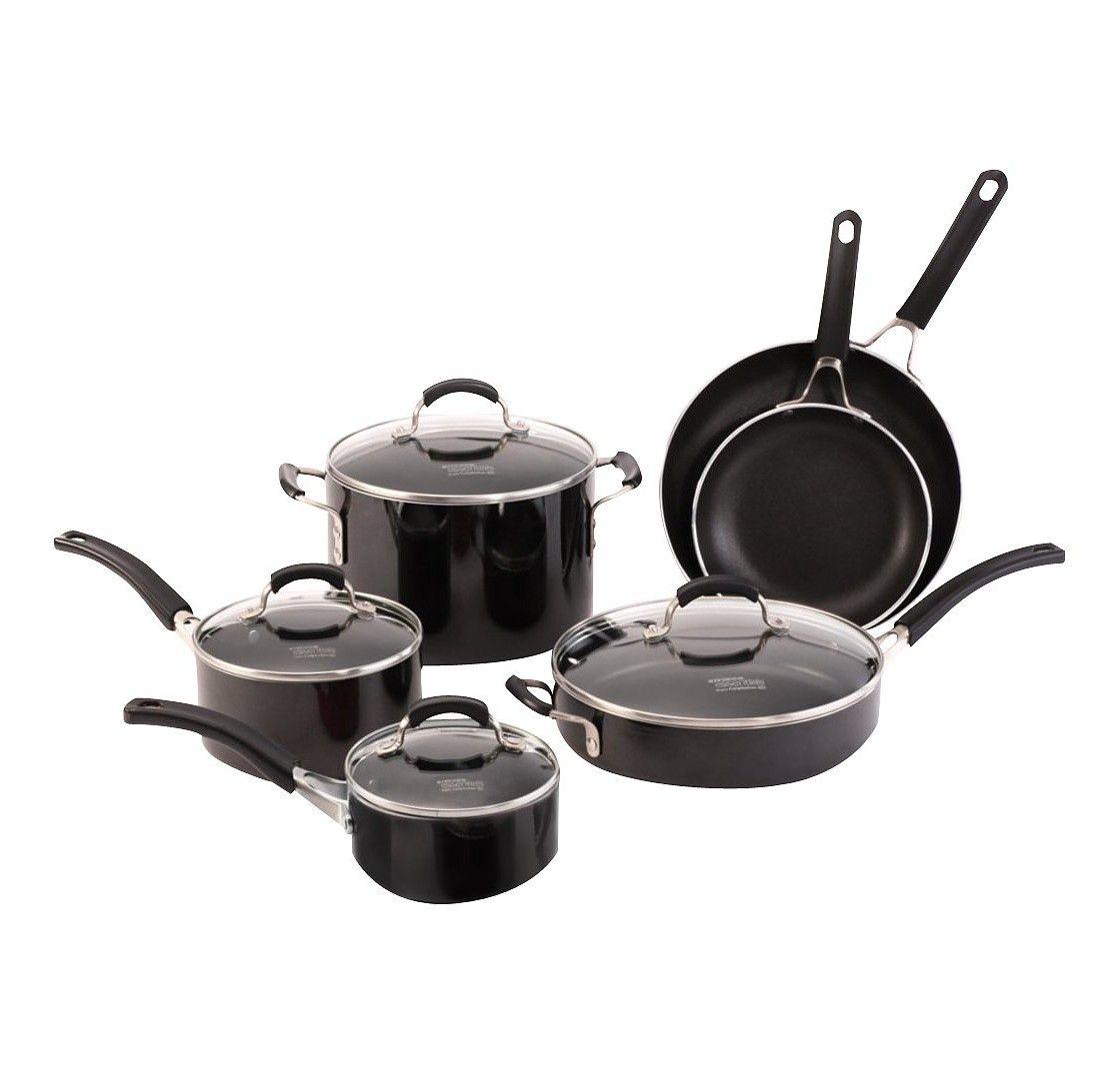 Calphalon Kitchen Essentials 10 piece Black Nonstick Cookware Set ...