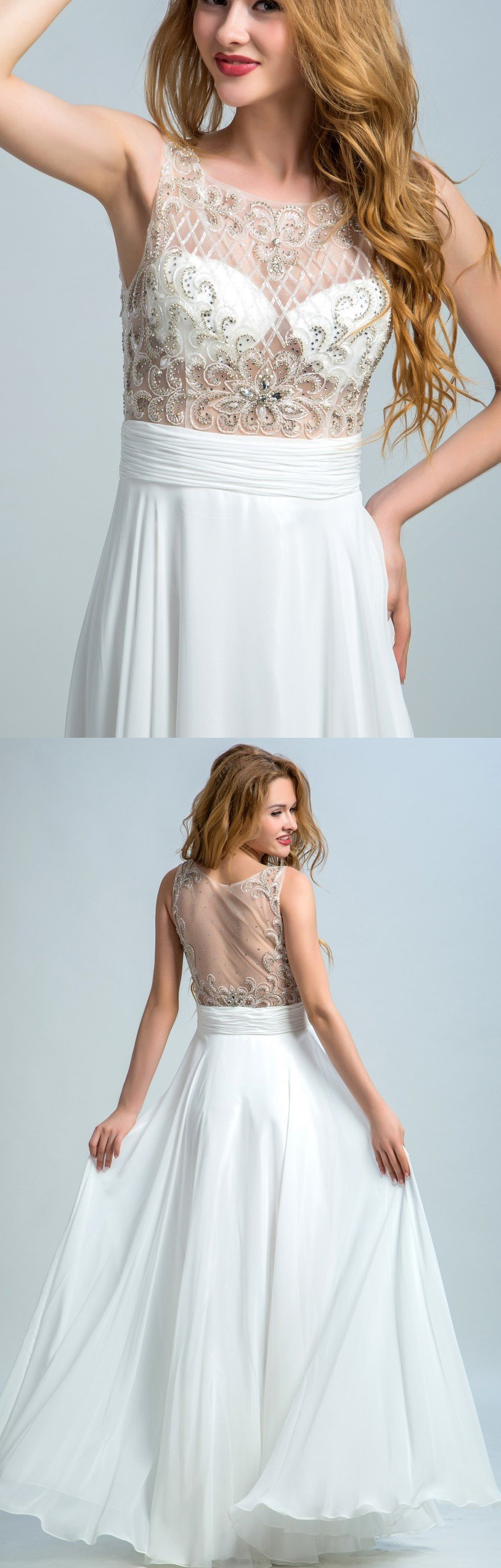 White prom dresses long prom dresses sleeveless evening dresses