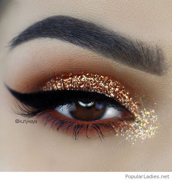 Awesome Gold Glitter Eye Makeup For Brown Eyes In 2019 Wedding Day