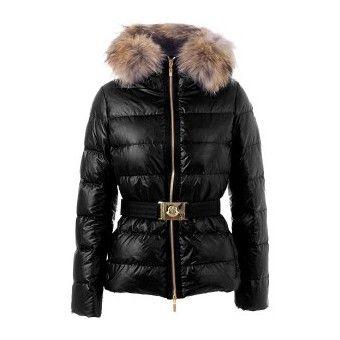 France Moncler Angers Belted Quilt Black Jacket Women Outlet