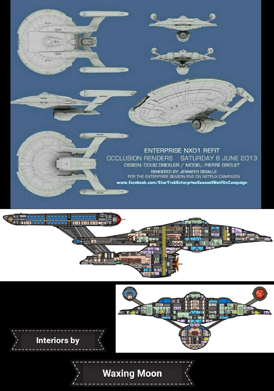 Combo Images Of The Nx 01 Enterprise Refit Designed By Doug Drexler Interior Decks By Waxing Moon Star Trek Starships Star Trek Ships Star Trek Universe