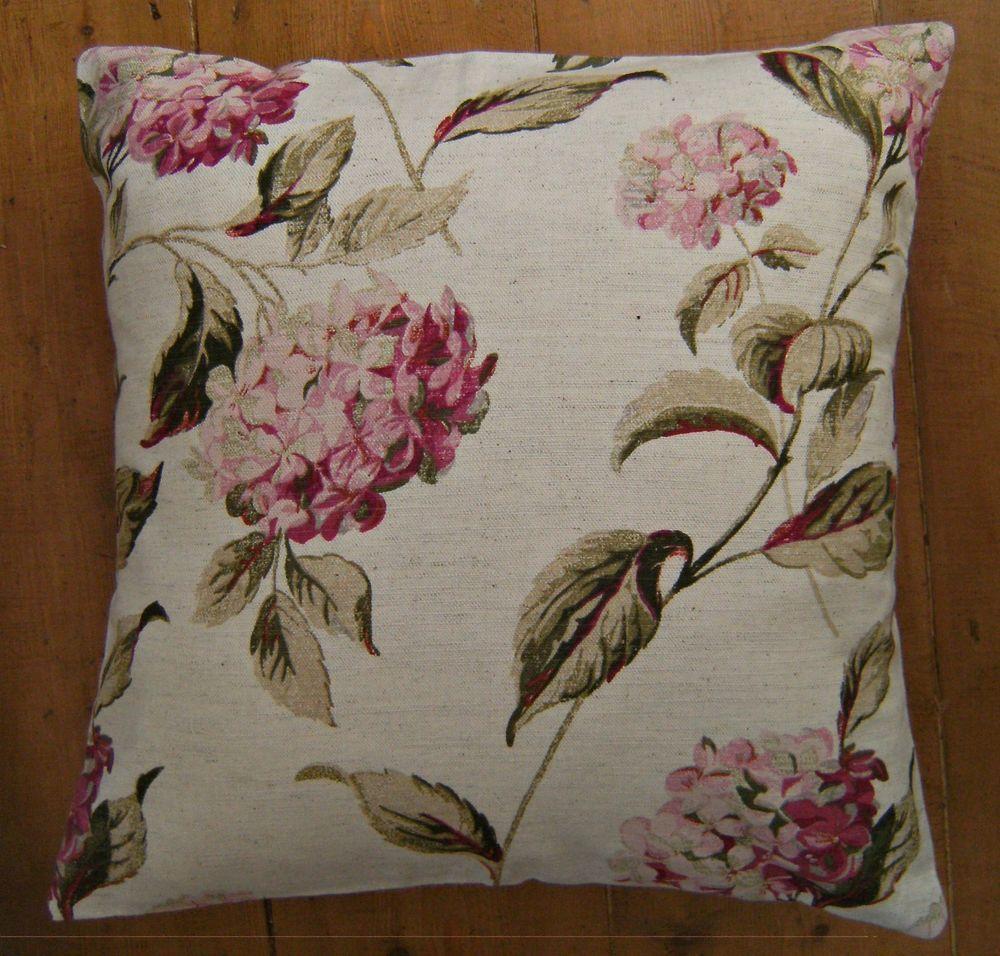 Laura ashley hydrangea pinkcream fabric design scatter pillow