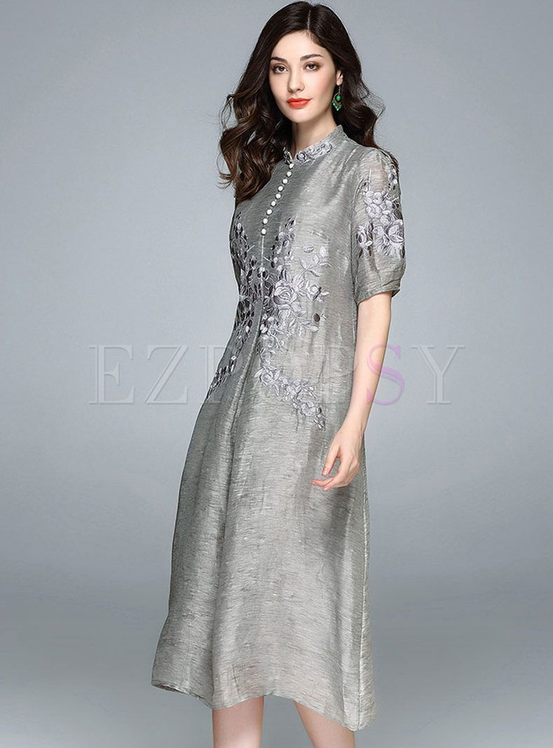 e44ada15688 Shop for high quality Vintage Embroidered Stand Collar A-line Skater Dress  online at cheap prices and discover fashion at Ezpopsy.com
