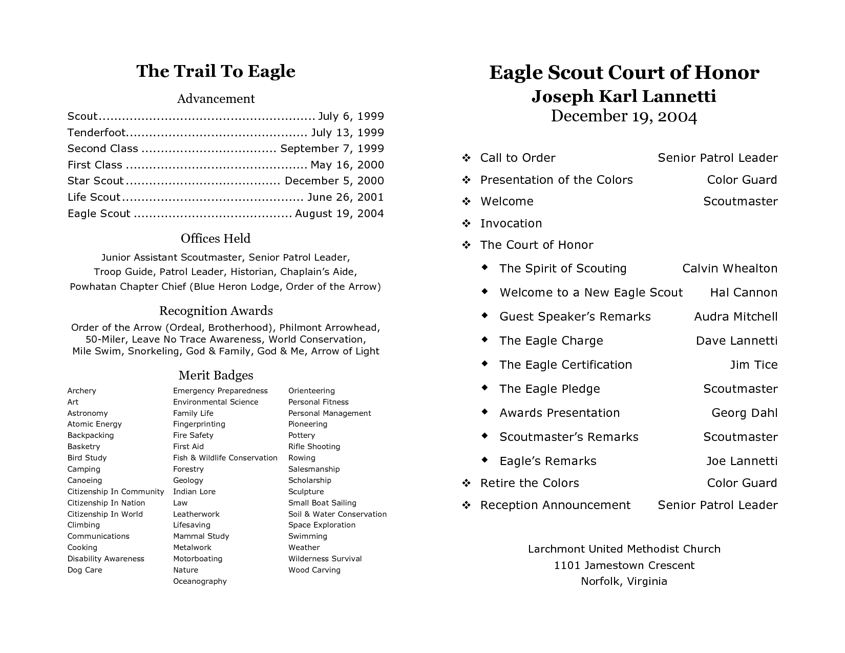 Sample Eagle Scout Court Of Honor Program