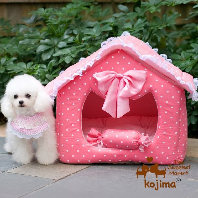 Washable 2 Pieces Dog Puppy Cave Bed House With Pillow Small Pet
