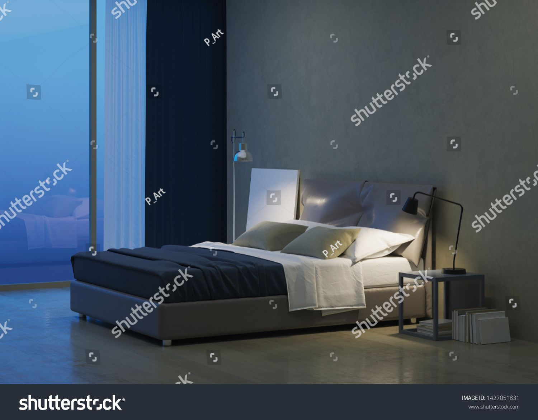 Modern House Interior Bedroom Interior Design Evening Lighting