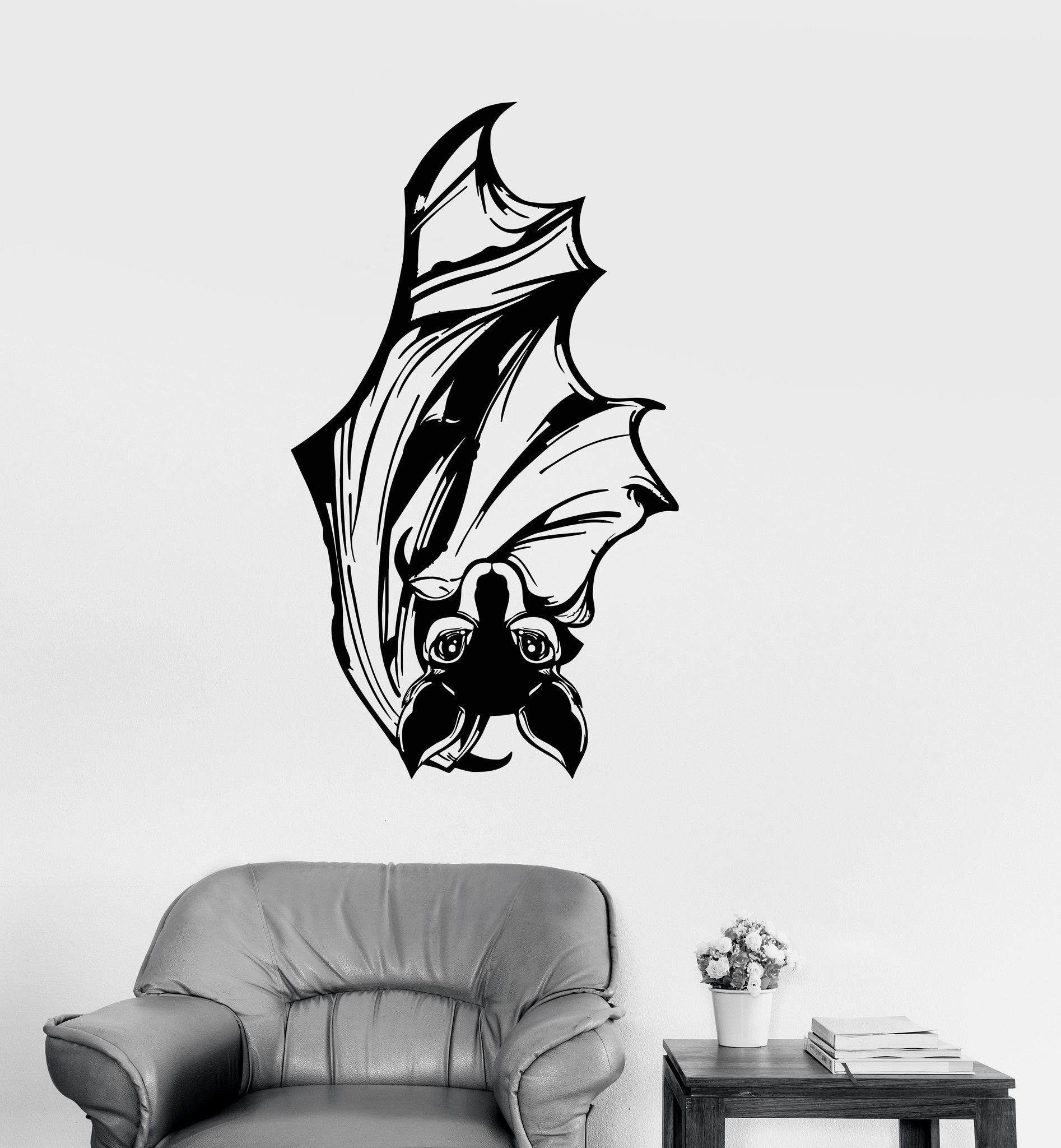 Vinyl wall decal bat flittermouse wings animal pet shop for Mobilia zoo