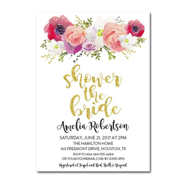 editable pdf bridal shower invitation diy gold glitter watercolor flowers instant download printable