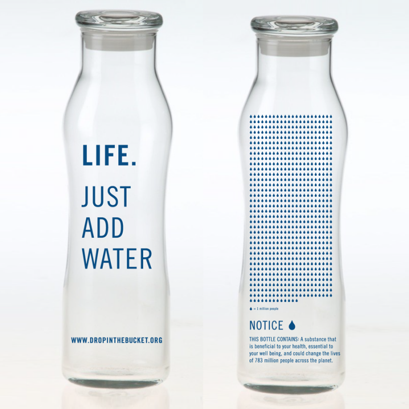 Glass Bottle Printed With The Words Life Just Add Water Printed