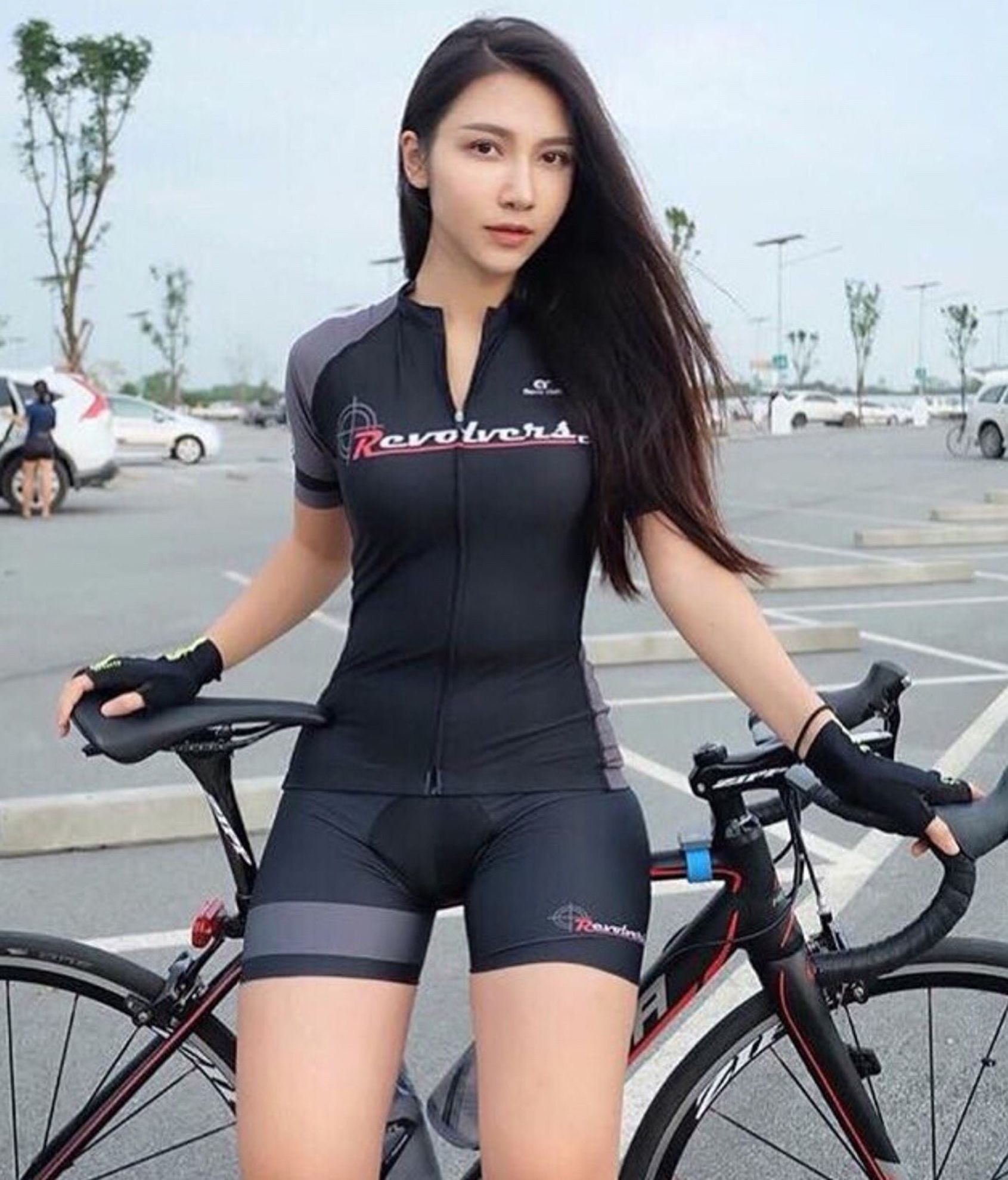 Fitness Woman On Bicycle Seat Fit Stock Photo