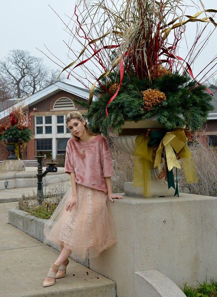 H&M Pink Faux Fur Top, Anthropologie Tulle Skirt, Aldo Nude Pumps