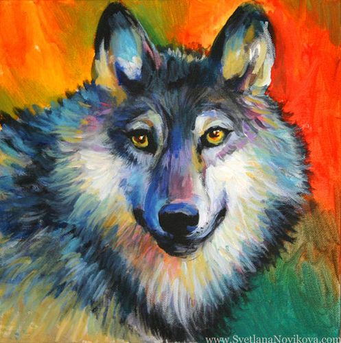 wolf painting acrylics Wolf painting Wolf