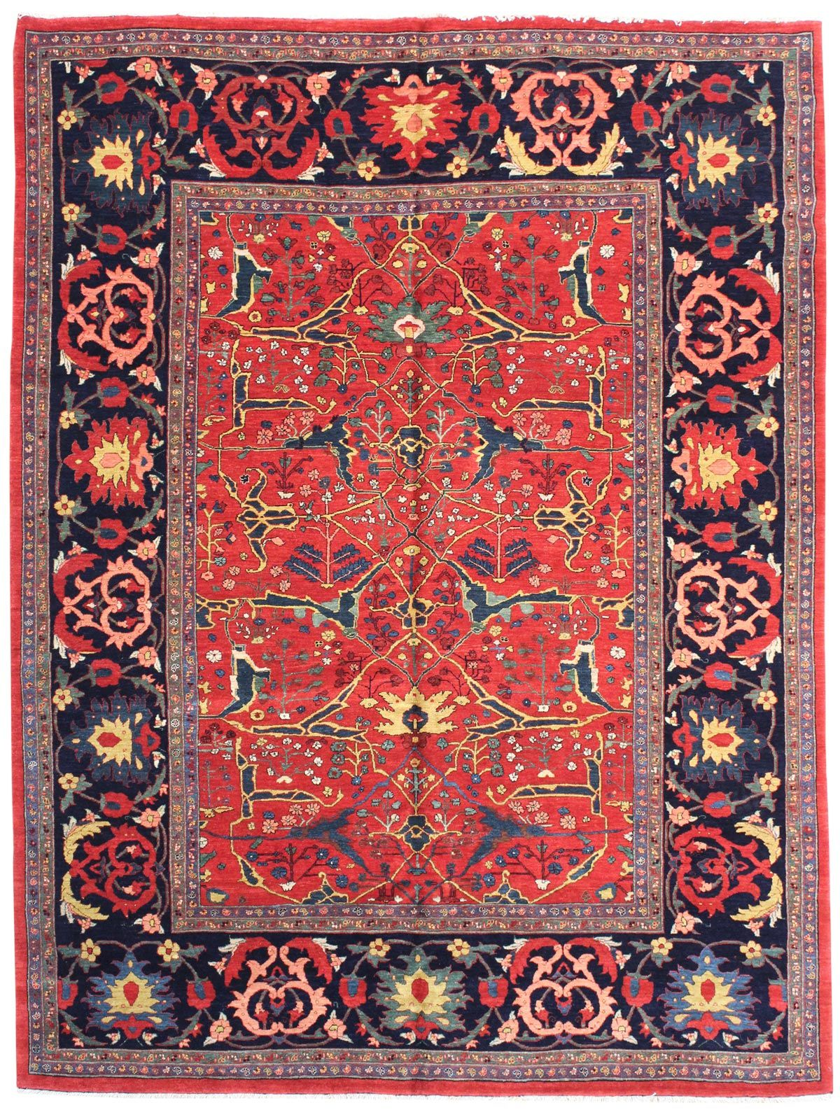 Geometric Oriental Rugs Gallery: Persian Bijar Rug, Hand Knotted In Persia;  Size
