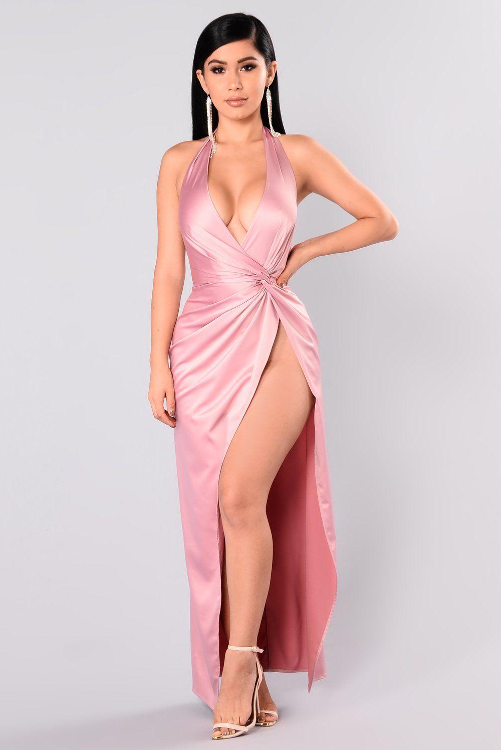 High Spirits Satin Dress - Mauve
