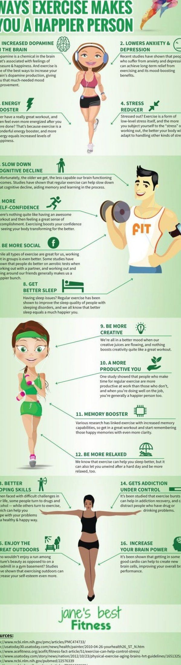 16 Ways Exercise Makes You Happier  Infographic  #fitness #workout #fitnesstip #health