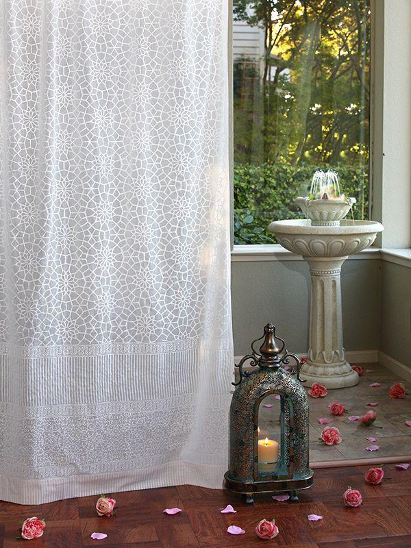 white sheer curtains moroccan trellis