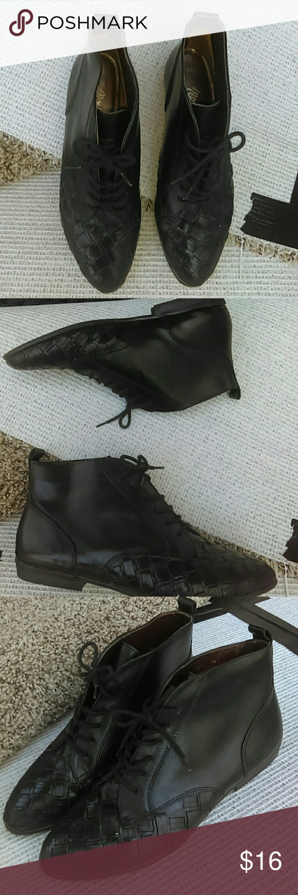 Black pointed toe ankle booties Patent leather Upper and weaved front make this booties a fun addition to your featuring lace up front and 1inches heel . Pre owned ravioli Sport Shoes Ankle Boots & Booties