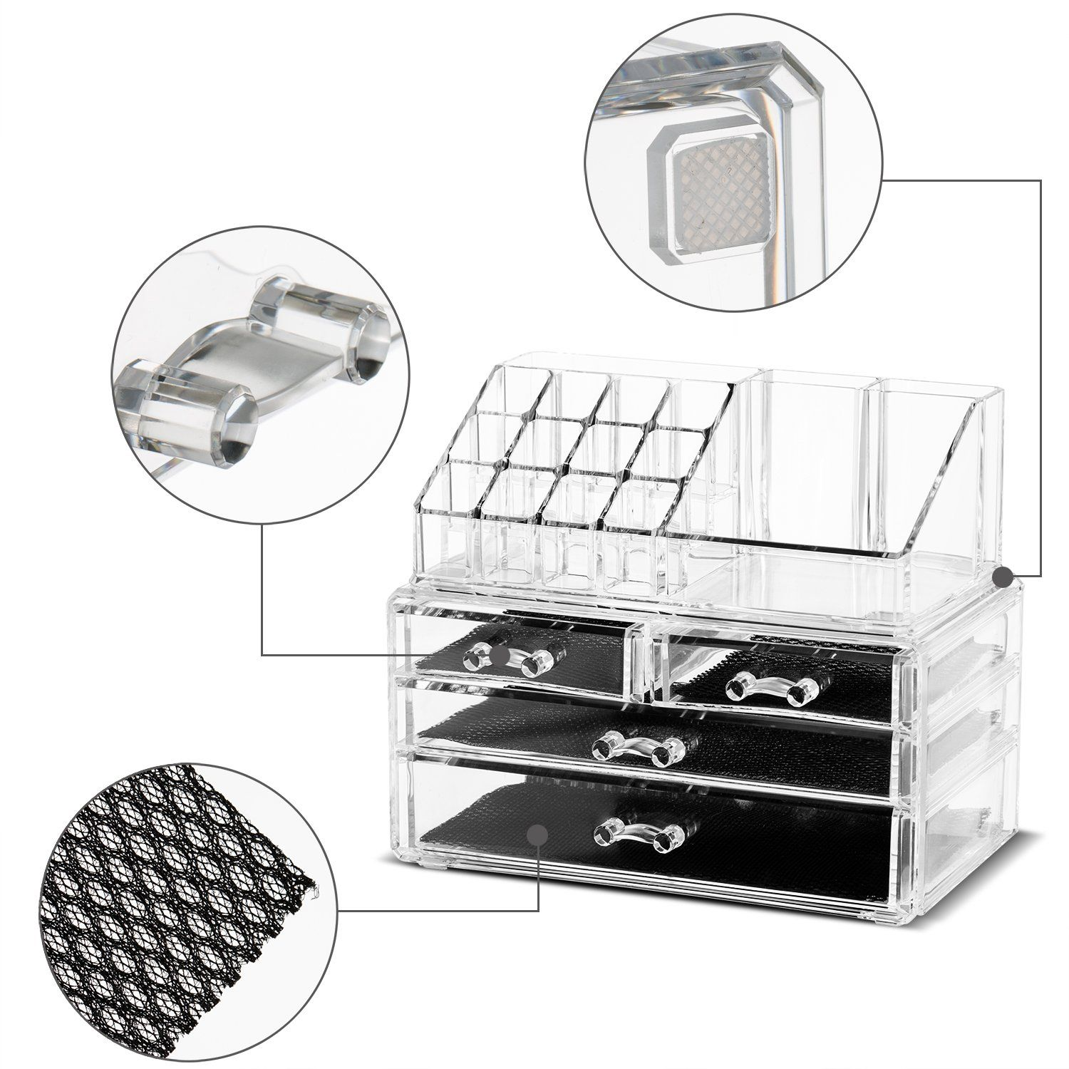 Felicite Home Makeup Cosmetic Organizer Conceallipstickeyeshadowbrushes In One Place Storage