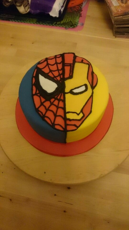 Peachy Ironman And Spiderman Cake With Images Spiderman Cake Iron Birthday Cards Printable Benkemecafe Filternl