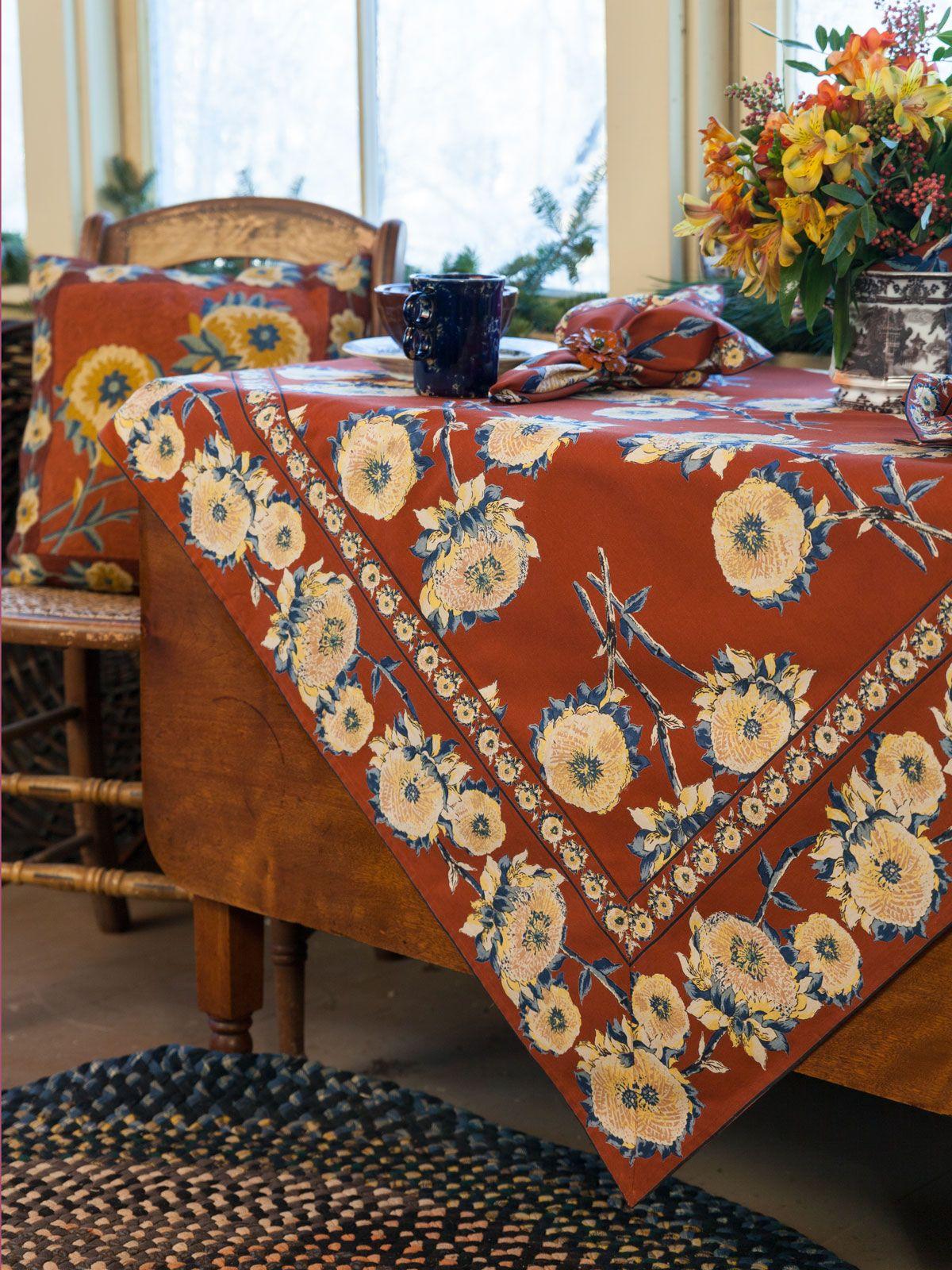 Sun Follower Tablecloth Rust Attic Sale Linens Kitchen