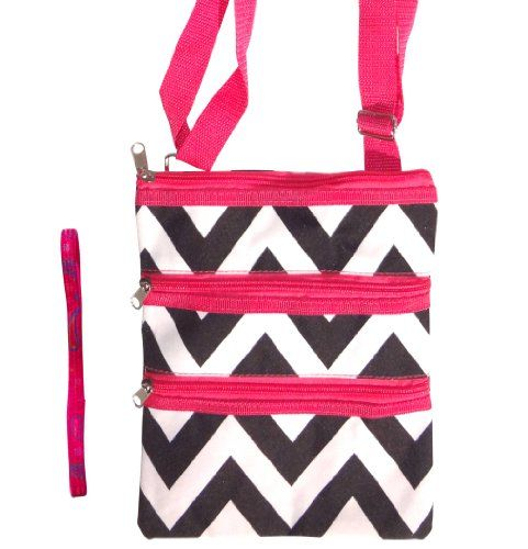 cdc37e03f7a0 Best Black and White Chevron with Pink Trim Messenger Bag Passport Carrier  Swingpack Purse Hipster Crossbody Case by TravelNut with Trendy No Metal  Headband ...