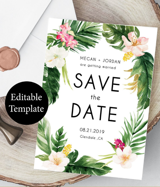 Tropical Save The Date Template Diy
