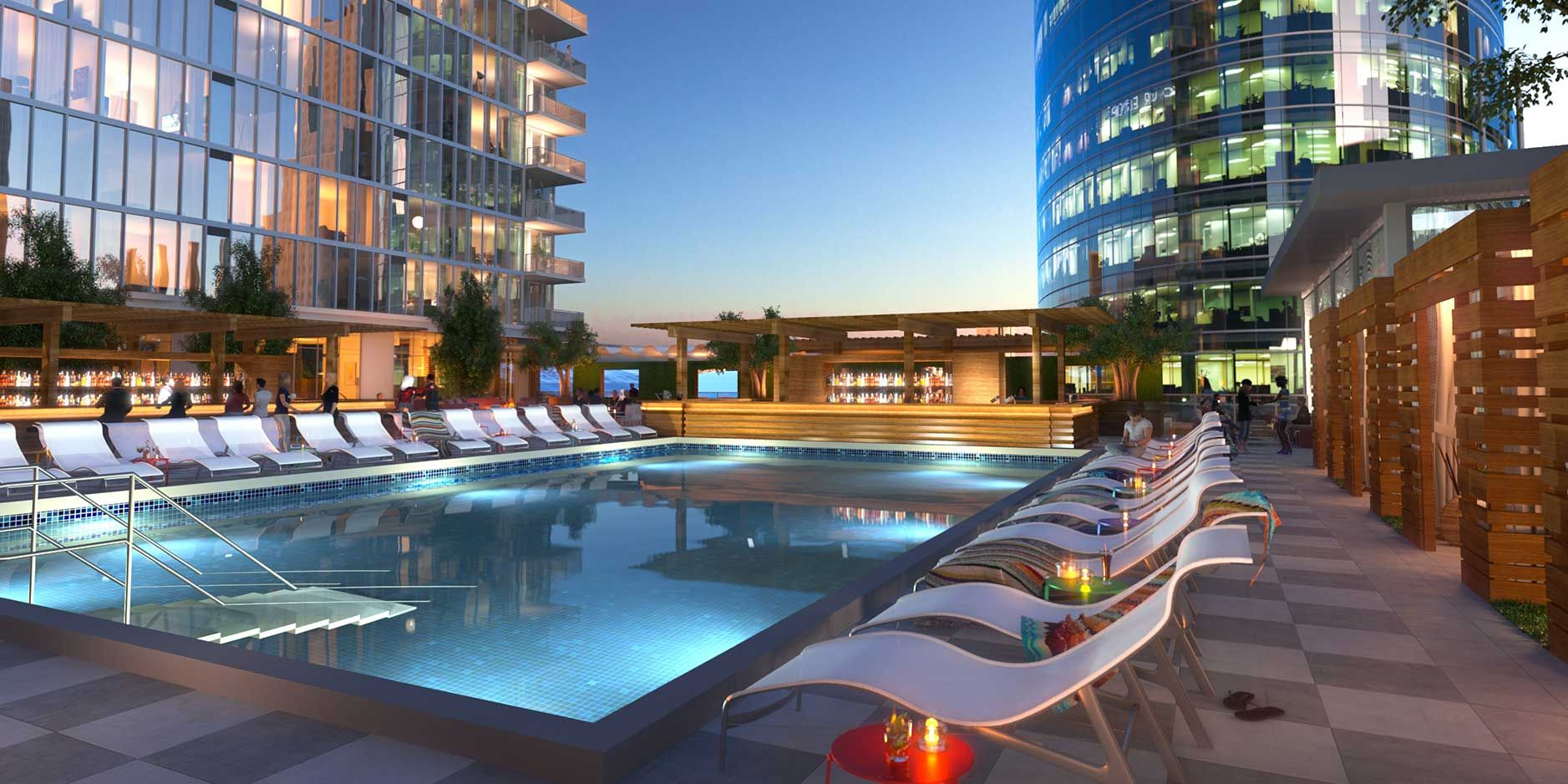 One light apartments rooftop pool one light luxury for Pool design kansas city