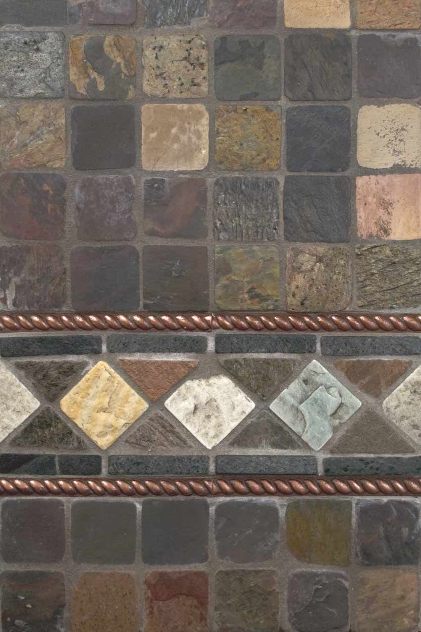 Satin Copper Slate : Mixed slate and copper metal backsplash by msi stone