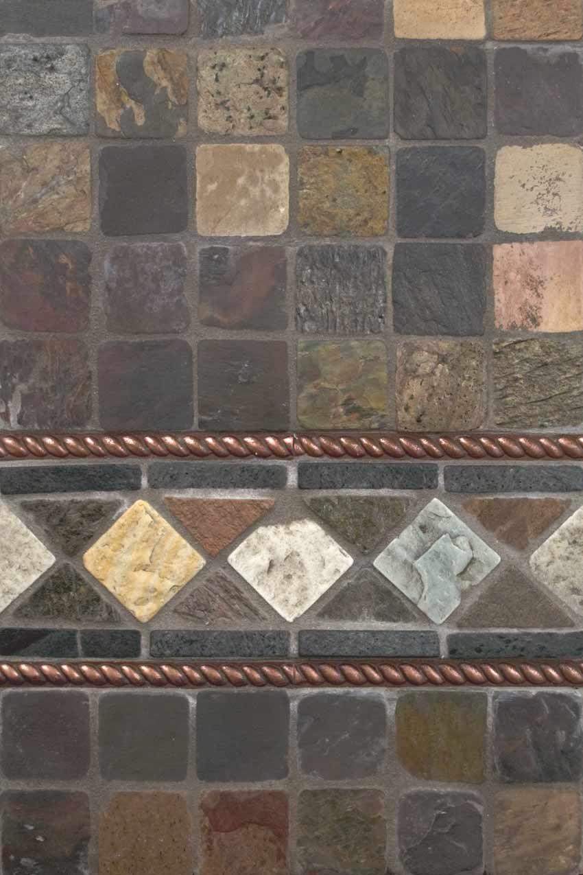 Mixed Slate And Copper Metal Backsplash By Msi Stone Metallic