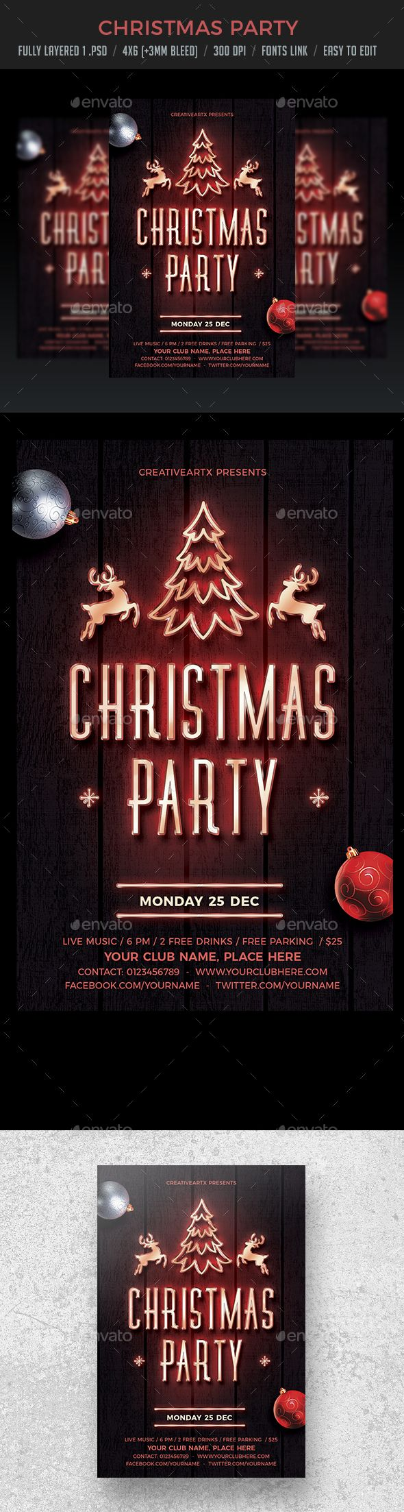 Christmas Party Neon Flyer | Neon, Party flyer and Event flyers