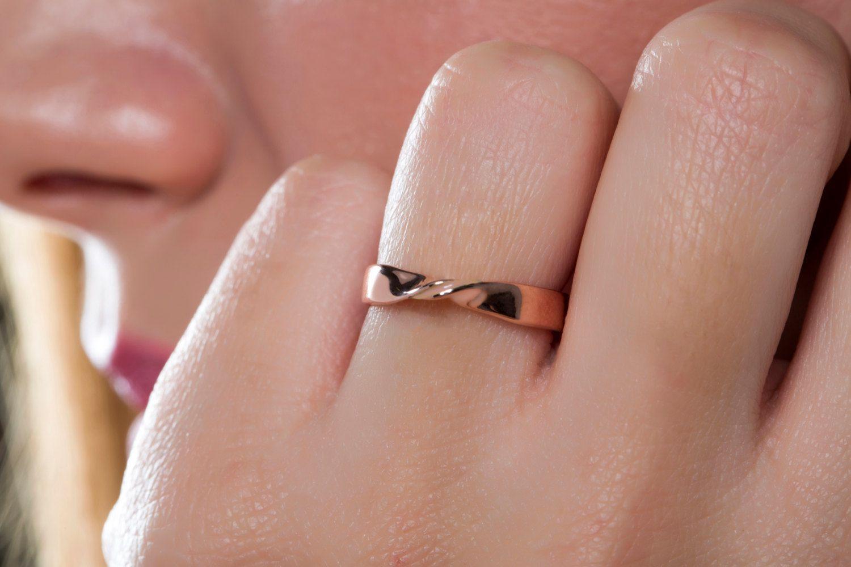 Mobius ring, SOLID gold, rose gold pink, enamel ring, K14 gold ring ...
