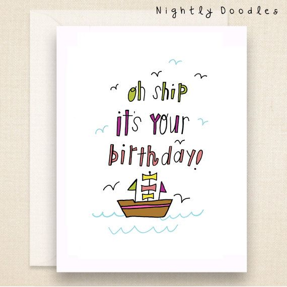 Punny Birthday Card Funny Boat Birthday Greeting Card Lime Pink