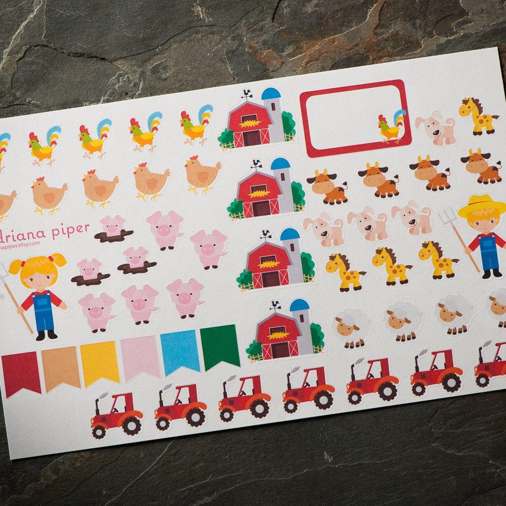 Farm Stickers for Erin Condren Life Planner, Plum Paper Planner, Filofax, Kikki K, Calendar Scrapbook AI-106 by adrianapiper on Etsy