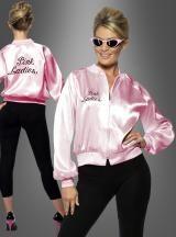 Pink Ladies Satin Jacke mit Stickerei aus dem Kultfilm Grease mit John Travolta und Olivia Newton-John.